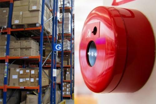 Пожарная сигнализация на складе.