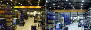 сравнение систем освещения склада